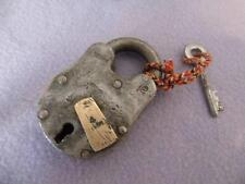 VINTAGE ANTIQUE STYLE CAST IRON PADLOCK WITH KEY-PERFECT FOR CHESTS & BOXES