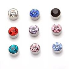 Men Women Non Pierced Magnetic Earrings Pair Crystal Stud Jewellery Fake Round