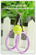 3D Sport Mini Purple Tennis Racket & ball Model Key Ring Keychain Funny Gift