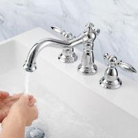 Widespread Bathroom Basin Faucet Bathroom Sink Mixer Tap 2 Handles Polished