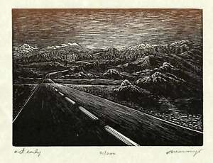 Original Earthtone Wood Engraving Out Early Southwest Desert Road