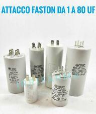 Condensatore di spunto marcia e avviamento motori monofase 1 a 80 UF 450V Faston