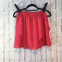 Charlotte Ronson Flared Skirt Extra Small XS Pink Confetti Faux Wrap Mini Skirt