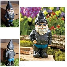 New Biker Garden Gnome Statue By Besti Outdoor Figurine Motorcycle Leather