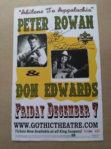 Peter Rowan Don Edwards Autographed 2001 Poster Denver Old And In The Way Album