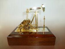 Rare Vintage Crude Oil Pump Music Box Automaton Gilt Gold Pump  Wooden Case Base