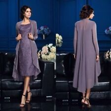 Short Purple Lace Mother of the Bride Groom Dress Plus Size Jacket Formal Gown