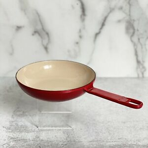 Vintage LE CREUSET France Cranberry Red Enamel Small Cast Iron Skillet Pan 6 In