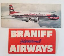 BRANIFF INTERNATIONAL AIRWAYS DC-6 EL CONQUISTADOR POSTCARD and TICKET A9