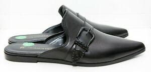 Black Leather Mules Flats Shoes Size 37 NWOB RRP £110 Trussardi Jeans Nappa