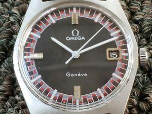 Vintage 1970 Omega Genève Black Racing Dial Watch Cal. 613 speedmaster style