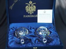 Faberge Imperial Collection Pair of Gold-trimmed Hand-cut Crystal Glasses