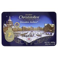 Original Dresdner Christstollen in Metalldose 1kg Rosinen Stollen i Geschenkdose