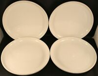 "* Set of 4 * Culinary Arts Crate & Barrel Dinner Plates 10 1/2"" White Porcelain"