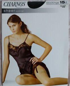 Charnos sheer Stockings large black 15 denier nylon lycra new to 6ft tall nylon