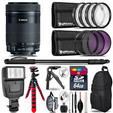 Canon 55-250mm IS STM + Slave Flash + MACRO, UV-CPL-FLD - 64GB Accessory Bundle