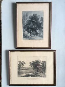 Pair of framed engravings of rural scenes - W F Wells after Gainsborough 1803/4