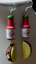 UNIQUE Hot Sauce Bottle Taco's 925 EARRING Mexican Food Handcrafted Nora Winn