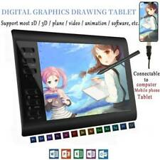 "Digital Graphics Drawing Tablet Artist Board Pad W/ 8192 Pen Pressure 10x6"" Nice"