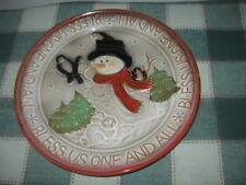 """Embossed Snowman Birds Rabbit 10.5"""" Stoneware Cookie Plate BLESS US ONE AND ALL"""