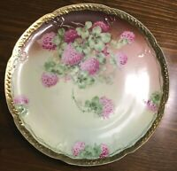 "Royal Vienna Hand painted Plate 9.75"" Pink Lucky Clover Four Gold Pretty Tea"