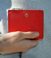 NWT Tory Burch Emerson Saffiano Mini Wallet in Red