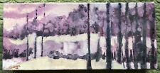 Small Vintage 80s Abstract Oil Painting Wall Hanging Modern Art Signed Powers