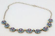 Antique Russian Silver Cloisonne Collier Necklace by Aleksandr Dalman