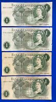 4x Bank of England One pound, O'Brien Hollom Fforde Page banknotes *[19471]