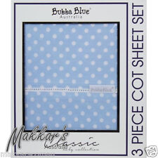 Bubba Blue POLKA DOTS Premium Cotton 3 Piece Cot Sheet Set - Blue