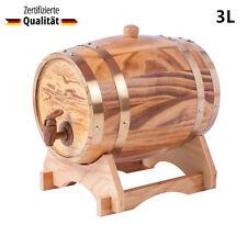 3 Liter Holzfass Whiskyfass Eichenfass Weinfass Schnapsfass Fass mit Holz-gerüst