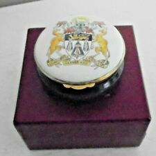 """Staffordshire Enamels Hand Painted Round Trinket/Pill Box (Dia 2.25"""" H 1.25"""")"""