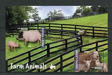Sierra Leone 2014 MNH Farm Animals 2v S/S II Pigeon Pigs Sheep