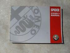 Alfa Romeo Spider Owner's Manual Model 916