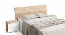Pack cabezal y 2 mesitas de noche para camas de 150 cm en color blanco y nature