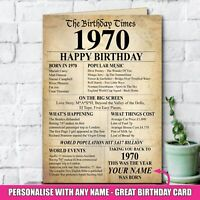 1970 50th Personalised Birthday Greeting Card Back In Edition Ago Milestone -140