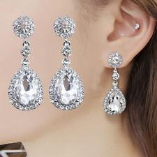 Long Crystal Drop Earrings Diamante Bridal Rhinestone Silver Dangle Prom UK
