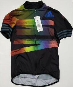 Adidas Women Cycling  2 ADISTAR  PRIDE JERSEY Black Glow Blue $160 MSRP New