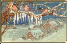 Antique Postcard Happy New Year Embossed Snow Birds on Limb Over Village 1914