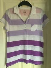 Purrple and White Stripe Polo Shirt from US brand Old Navy Size Large