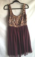 ANTONIO MELANI Dress Women's Brown Gold Black Sleeveless Flirty Dress Size 8