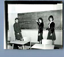 Black & White Photo J_6066 Pretty Teen Girls In Uniforms Posed By Chalkboard