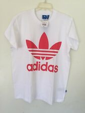Adidas Originals Women White BIG TREFOIL Tee Shirt Top BR9827 N W T Small