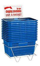 12 Blue Shopping Basket Set Standard-Size w/ Plastic Handle Display Rack & Sign