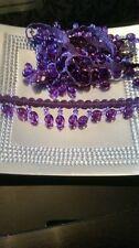 Beautiful Cadbury purple beaded fringe  with a woven braid