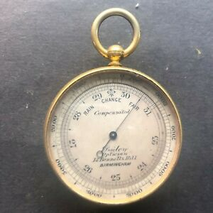 pocket barometer/ thermometer, by aitchison London, c1890