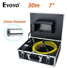 """Eyoyo 30M 7"""" HD LCD 23mm Pipe Pipeline Drain Inspection Sewer Video Camera Color"""
