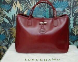 Magnifique sac cabas LONGCHAMP Roseau en cuir glacé bordeaux + dust bag