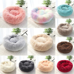 Large Dog Cat Bed Donut Calming Cushion Kennel Fluffy Plush Nest Crate Pet Sofa