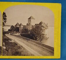 1860s Suisse Stereoview 13 Chateau Chillon Lac De Geneve Alpine Club W England